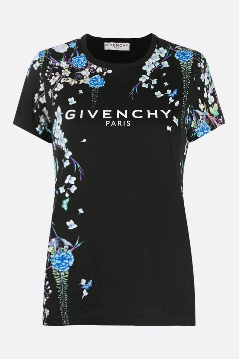 GIVENCHY: t-shirt in cotone stampa floreale Givenchy Colore Nero_1