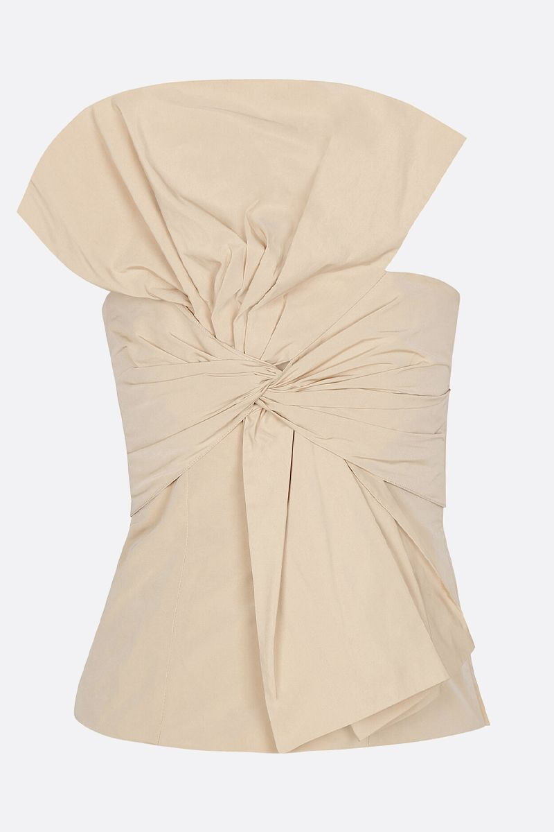 GIVENCHY: bow-detailed taffetà bustier top Color Neutral_1