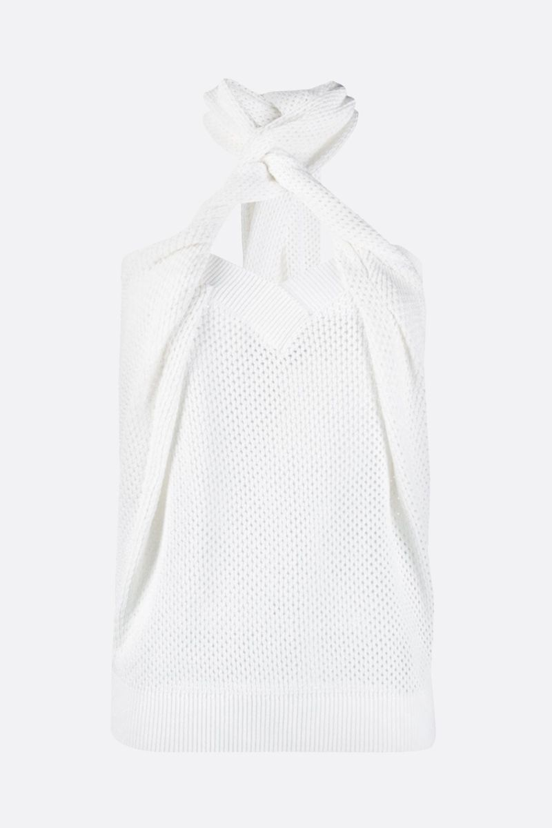 GIVENCHY: perforated knit top Color White_1