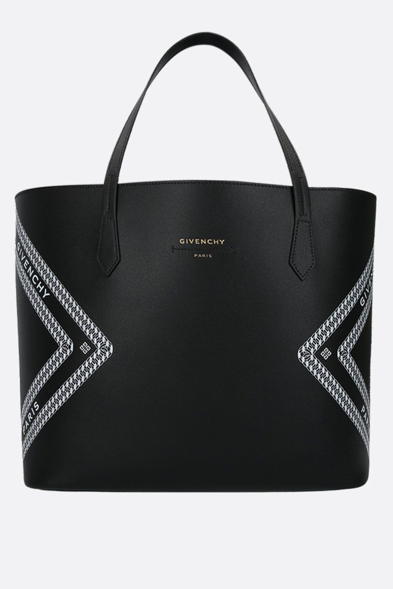 GIVENCHY: tote Wing in pelle stampa Givenchy Chaine Colore Nero_1
