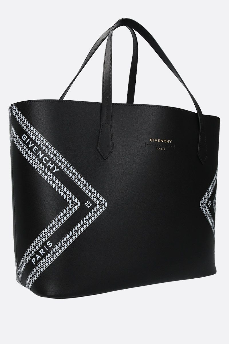 GIVENCHY: tote Wing in pelle stampa Givenchy Chaine Colore Nero_2