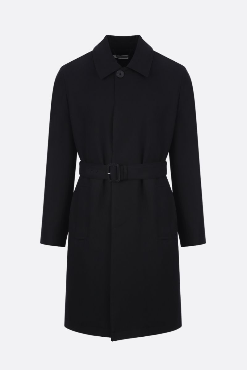 GIVENCHY: single-breasted overcoat in Studio Homme Givenchy printed wool Color Black_1