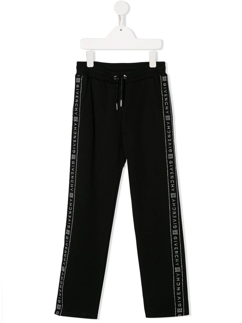 GIVENCHY KIDS: logoed bands jersey joggers Color Black_1