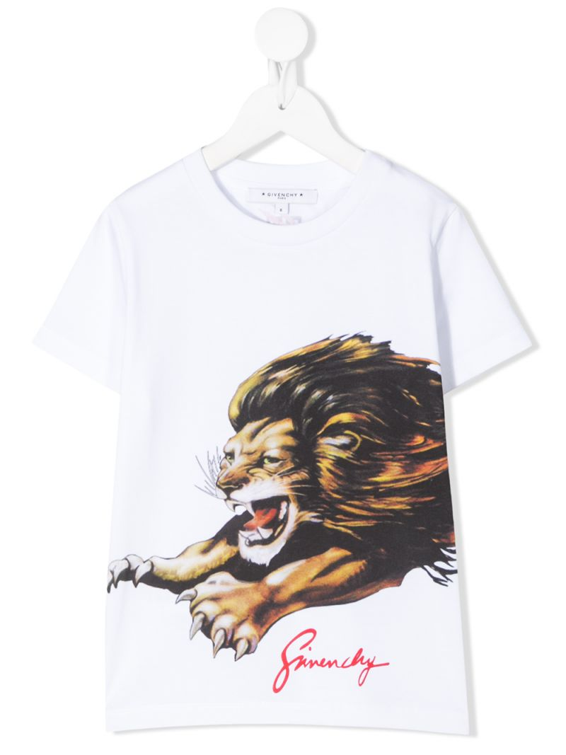 GIVENCHY KIDS: Lion print cotton t-shirt Color White_1