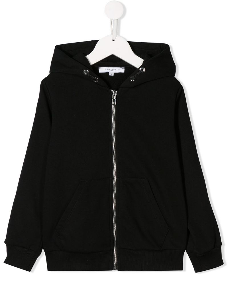 GIVENCHY KIDS: felpa full-zip in jersey con bande logate Colore Nero_1