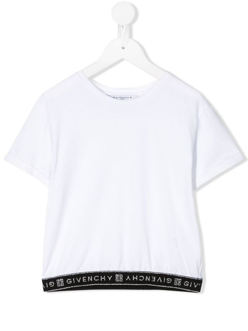 GIVENCHY KIDS: logo-detailed cotton blend t-shirt Color White_1