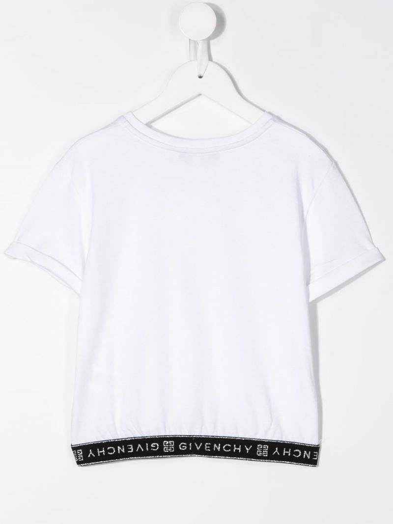 GIVENCHY KIDS: logo-detailed cotton blend t-shirt Color White_2