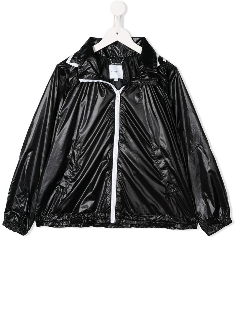 GIVENCHY KIDS: logo print nylon windbreaker Color Black_1