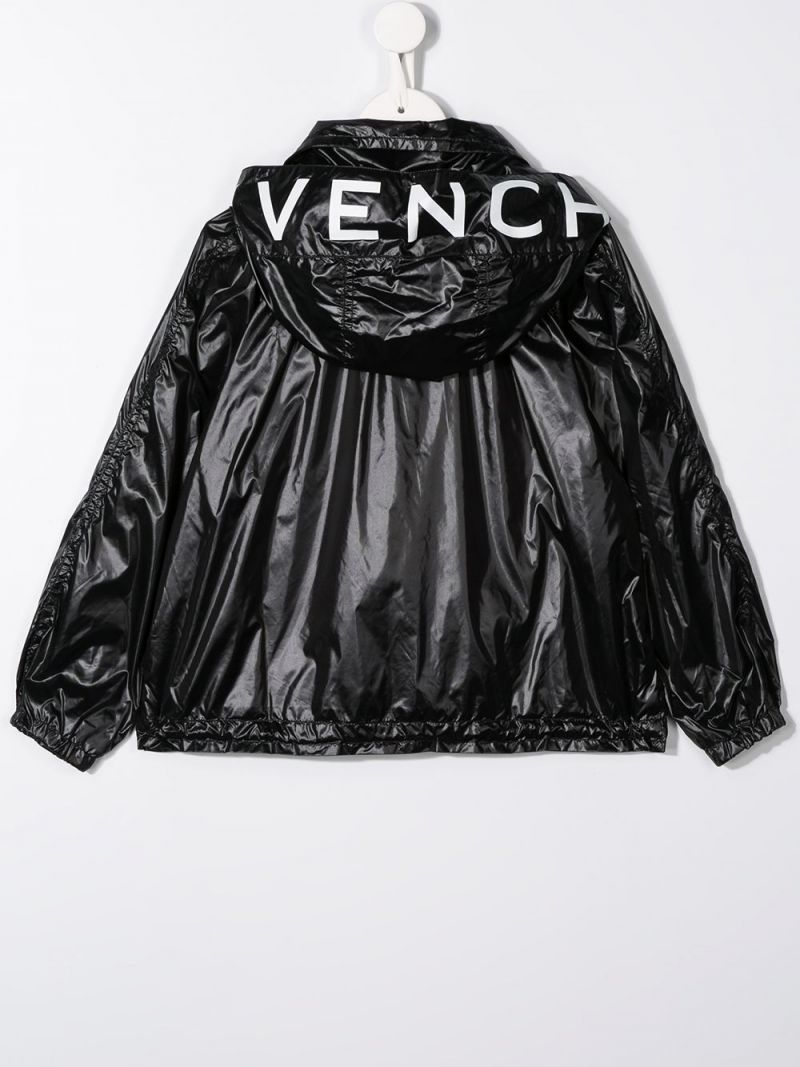 GIVENCHY KIDS: logo print nylon windbreaker Color Black_2