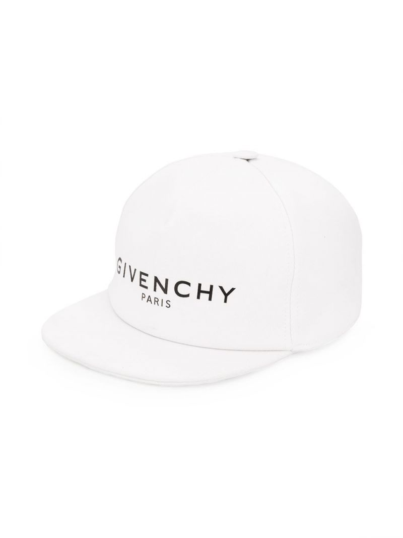GIVENCHY KIDS: logo print canvas baseball cap Color White_1