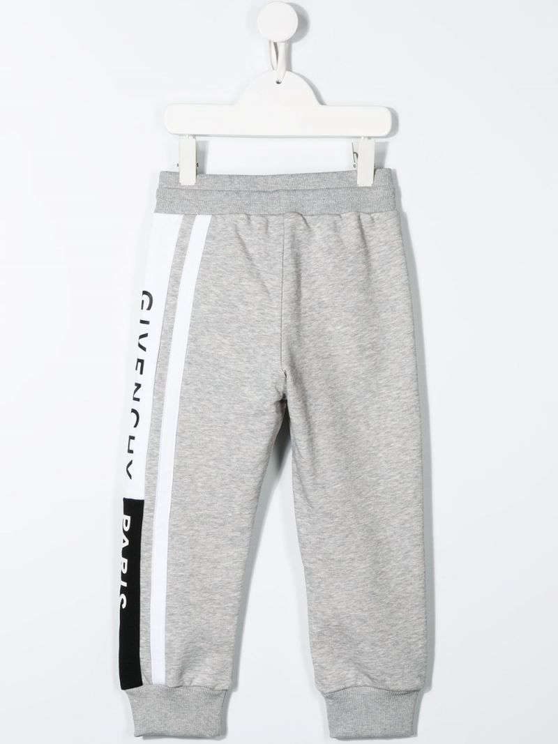 GIVENCHY KIDS: logoed band jersey joggers Color Grey_2
