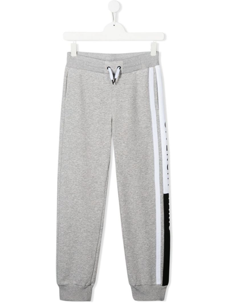 GIVENCHY KIDS: logoed band jersey joggers Color Grey_1