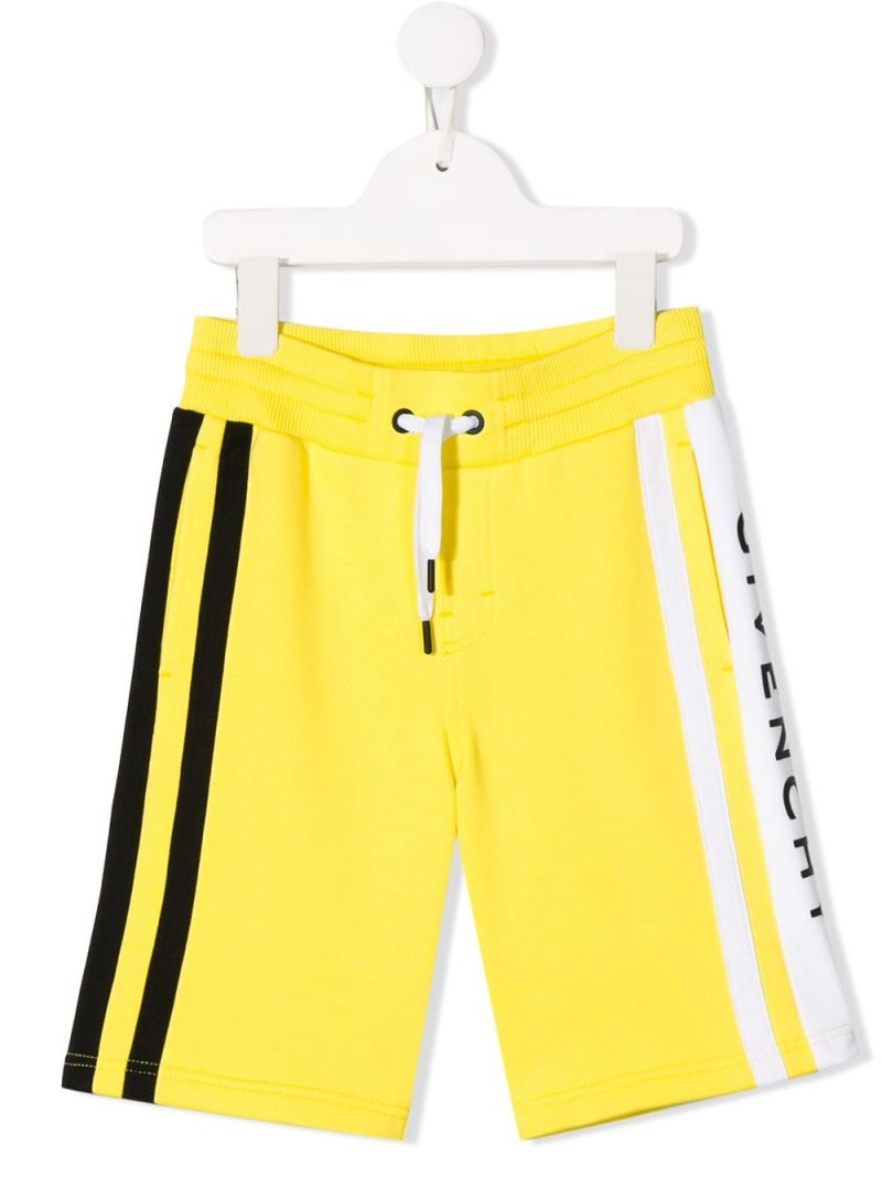 GIVENCHY KIDS: logo print jersey shorts Color Yellow_1