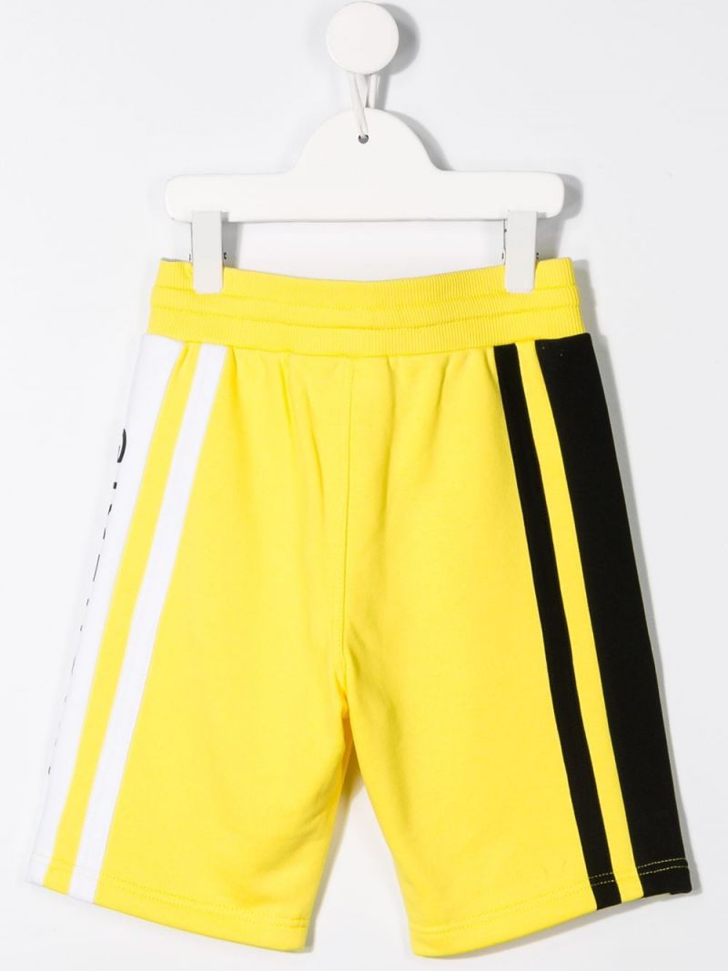 GIVENCHY KIDS: logo print jersey shorts Color Yellow_2