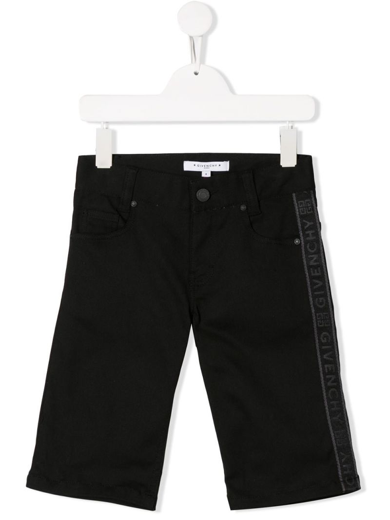 GIVENCHY KIDS: logo band-detailed stretch denim shorts Color Black_1