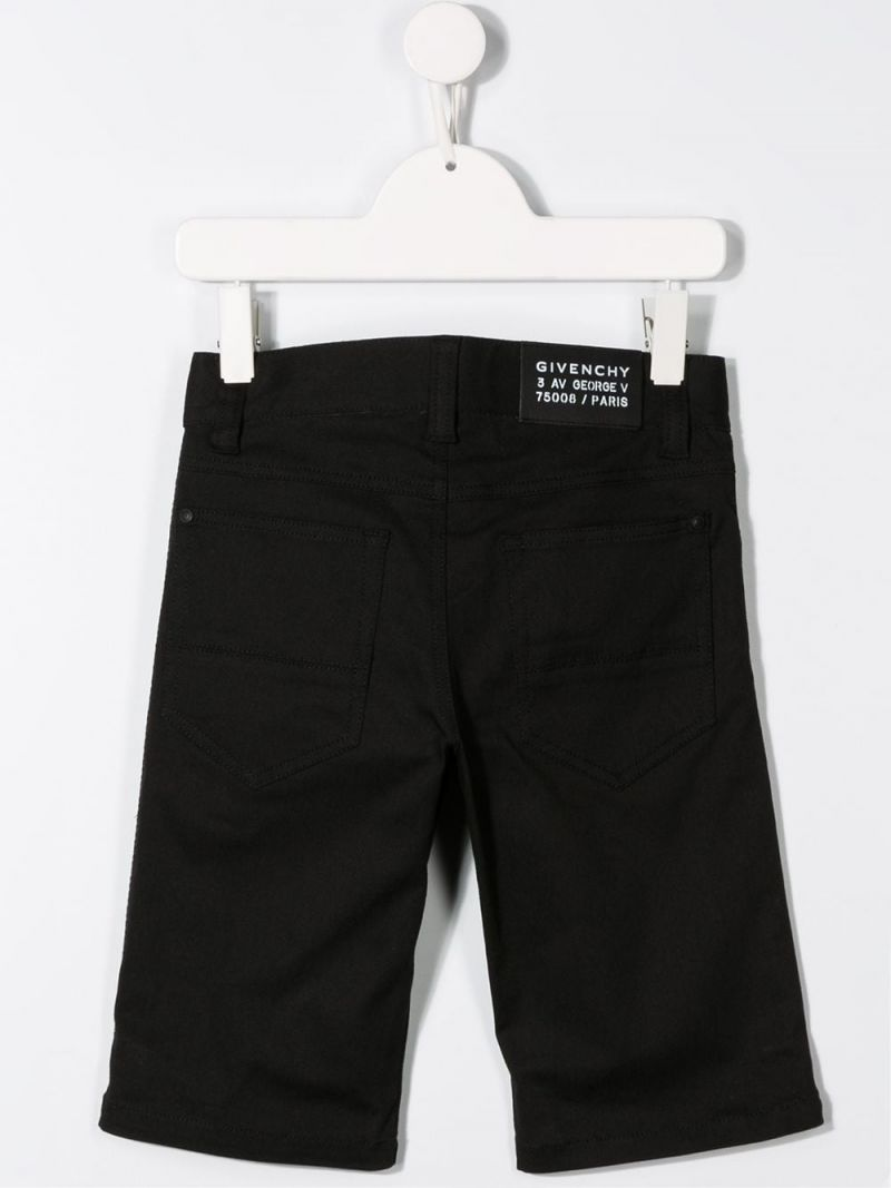 GIVENCHY KIDS: logo band-detailed stretch denim shorts Color Black_2