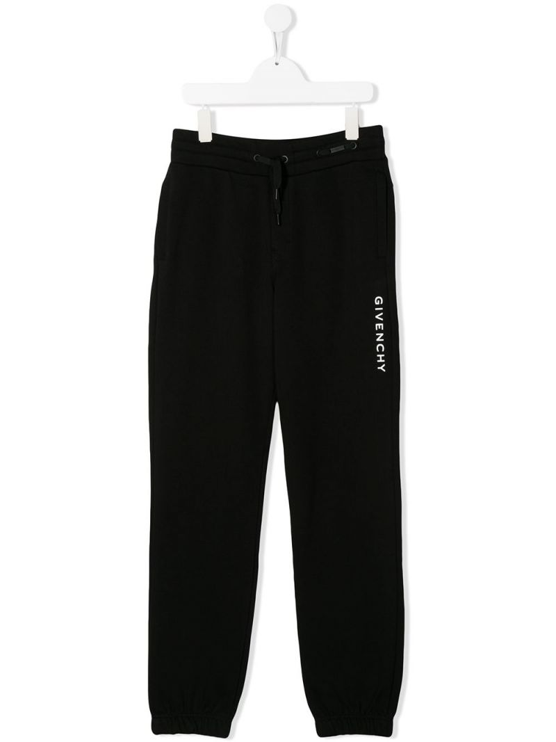 GIVENCHY KIDS: logo print jersey joggers Color Black_1