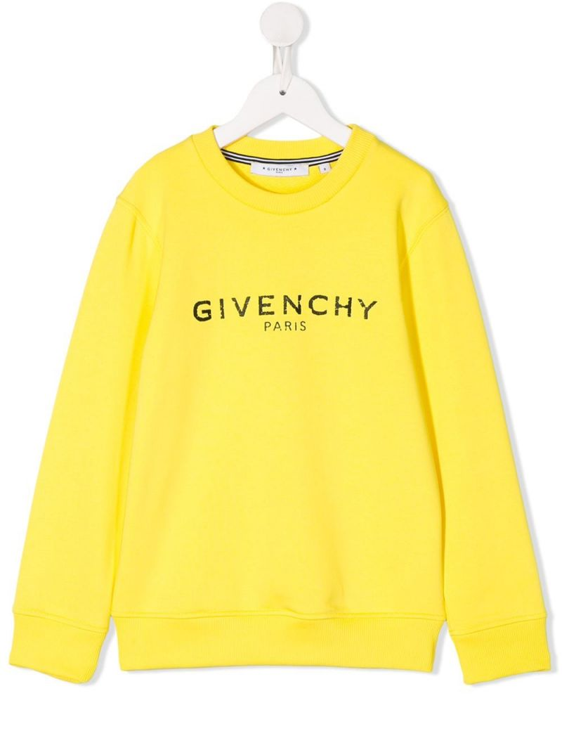 GIVENCHY KIDS: Givenchy Paris Vintage print jersey sweatshirt Color Yellow_1
