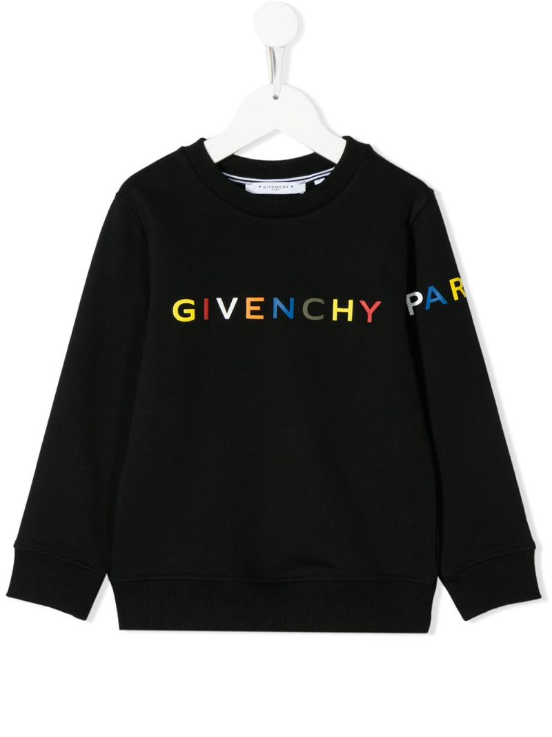 GIVENCHY KIDS: logo print jersey sweatshirt Color Black_1