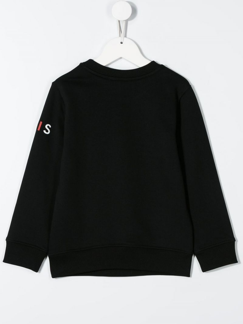 GIVENCHY KIDS: logo print jersey sweatshirt Color Black_2