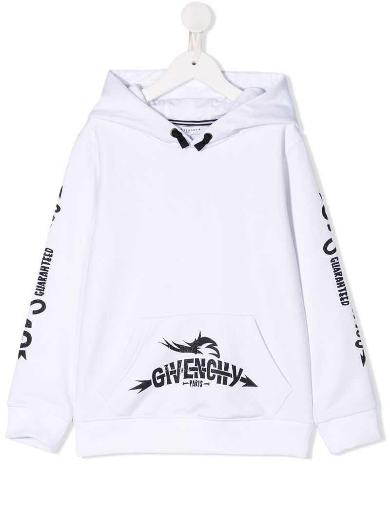 GIVENCHY KIDS: graphic logo print jersey hoodie Color White_1