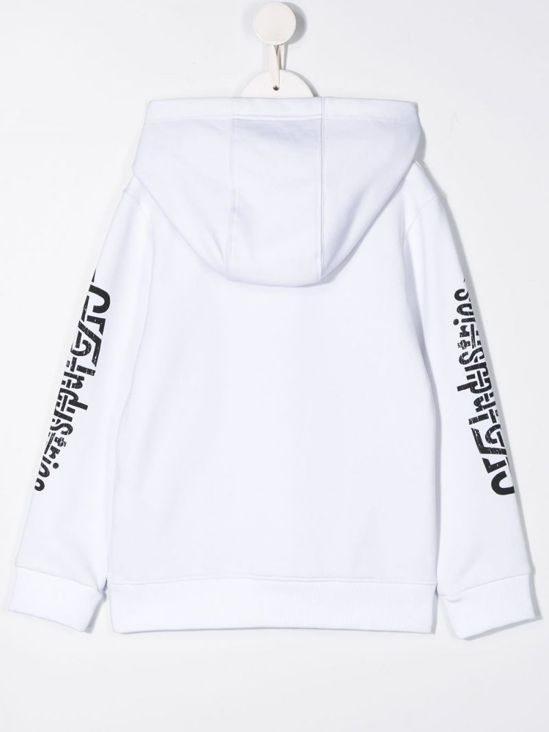 GIVENCHY KIDS: graphic logo print jersey hoodie Color White_2