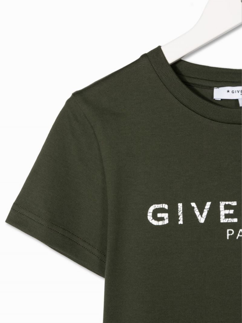 GIVENCHY KIDS: Givenchy Paris print cotton t-shirt Color Brown_3