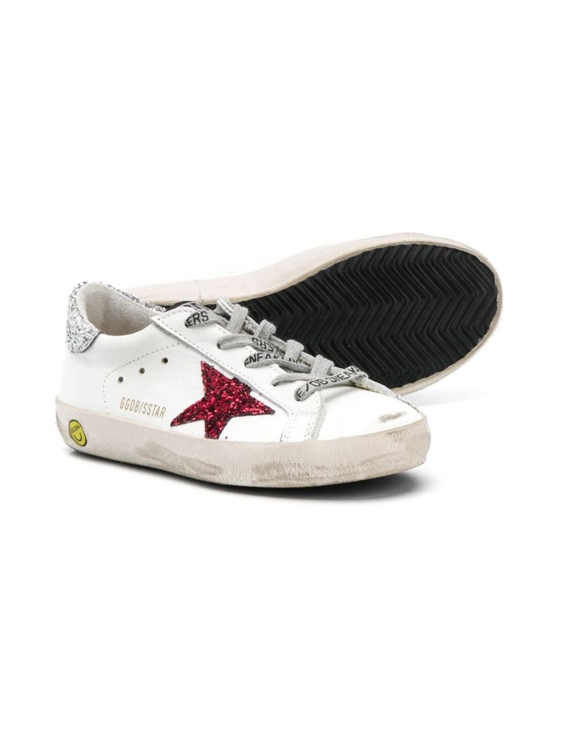 GOLDEN GOOSE DELUXE BRAND KIDS: Superstar smooth leather and glitter sneakers Color White_2