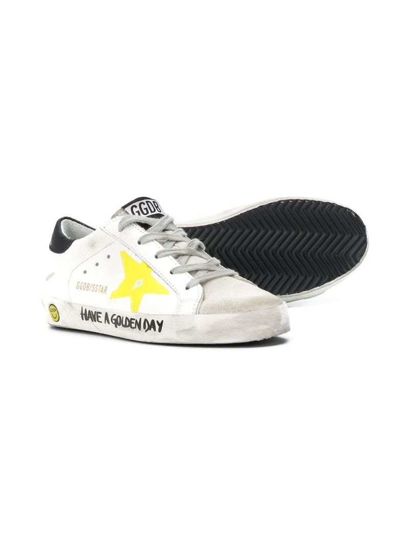 GOLDEN GOOSE DELUXE BRAND KIDS: Superstar smooth leather and suede sneakers Color White_2