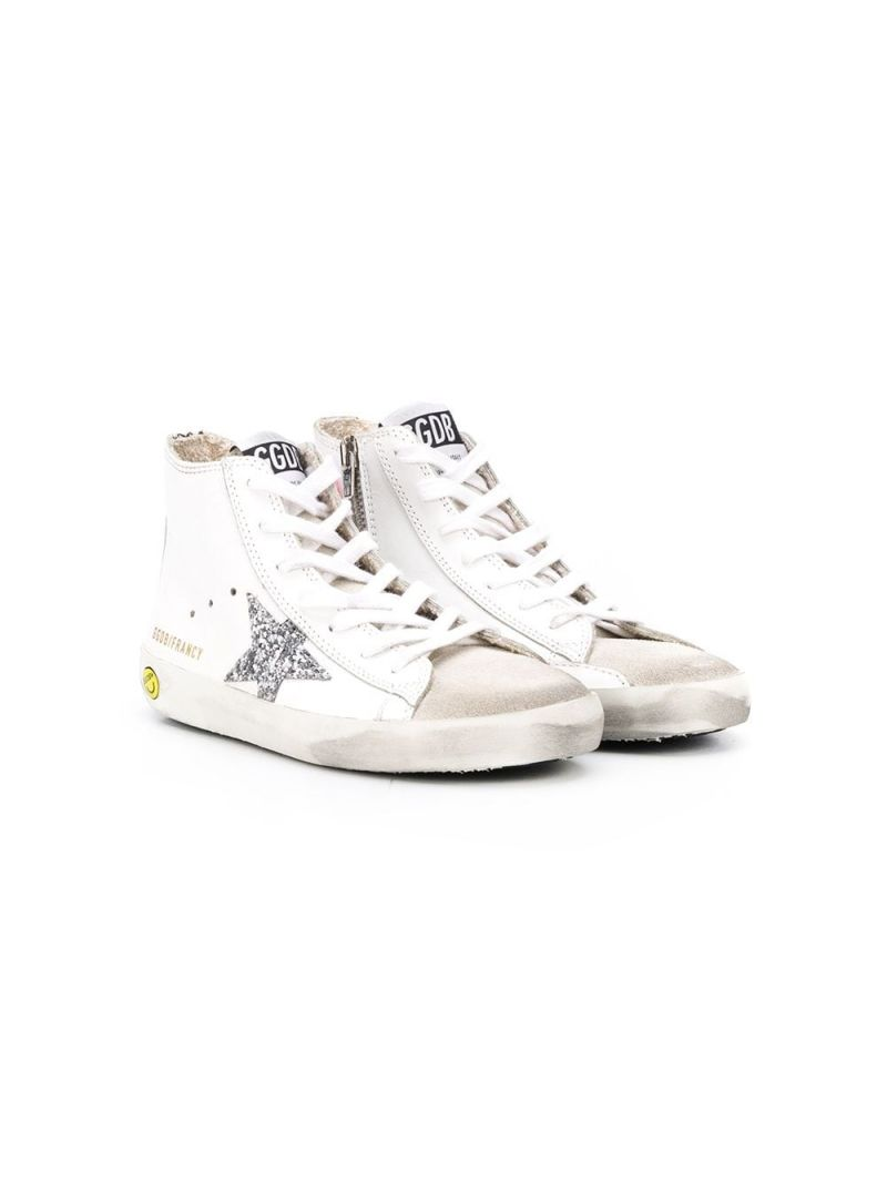 GOLDEN GOOSE DELUXE BRAND KIDS: Superstar smooth leather and suede high-top sneakers Color White_1