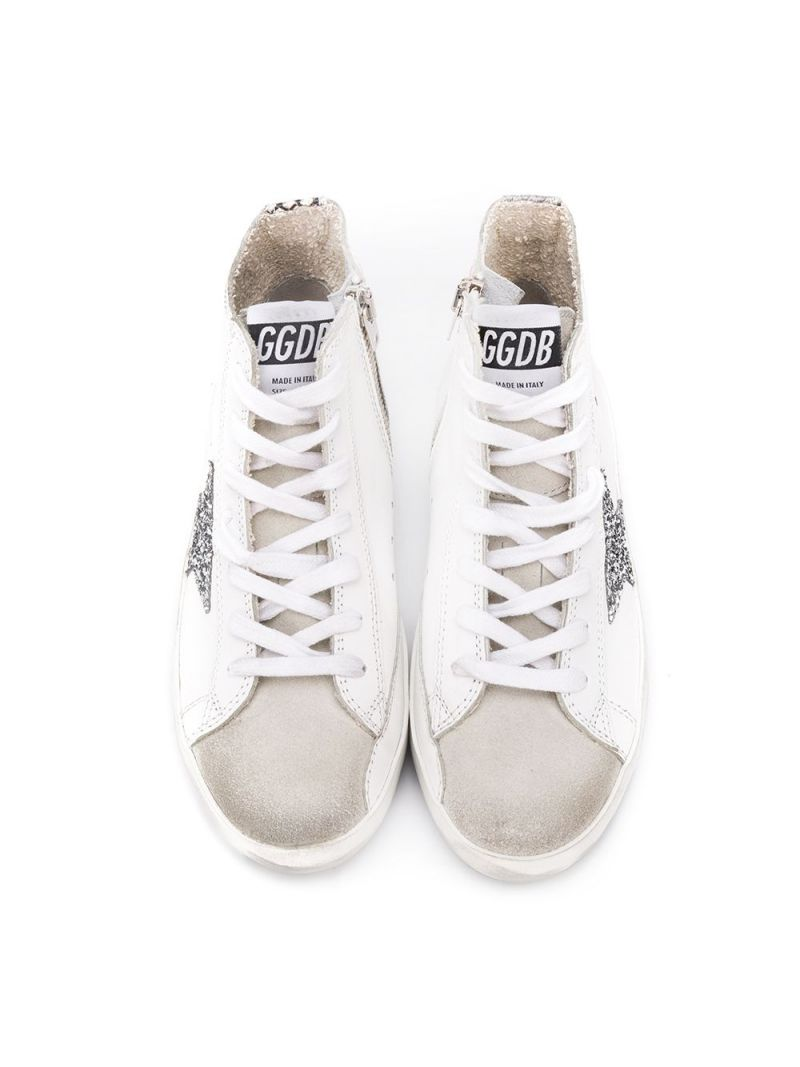 GOLDEN GOOSE DELUXE BRAND KIDS: Superstar smooth leather and suede high-top sneakers Color White_2