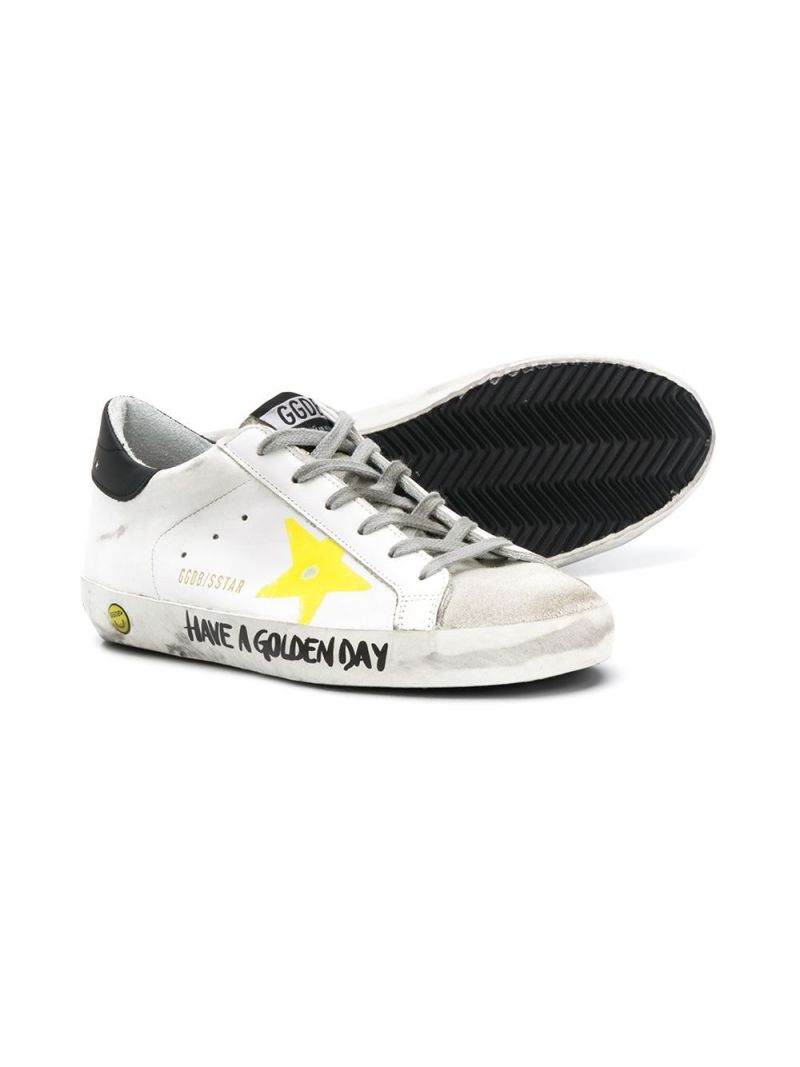 GOLDEN GOOSE DELUXE BRAND KIDS: Superstar smooth leather and suede sneakers_2