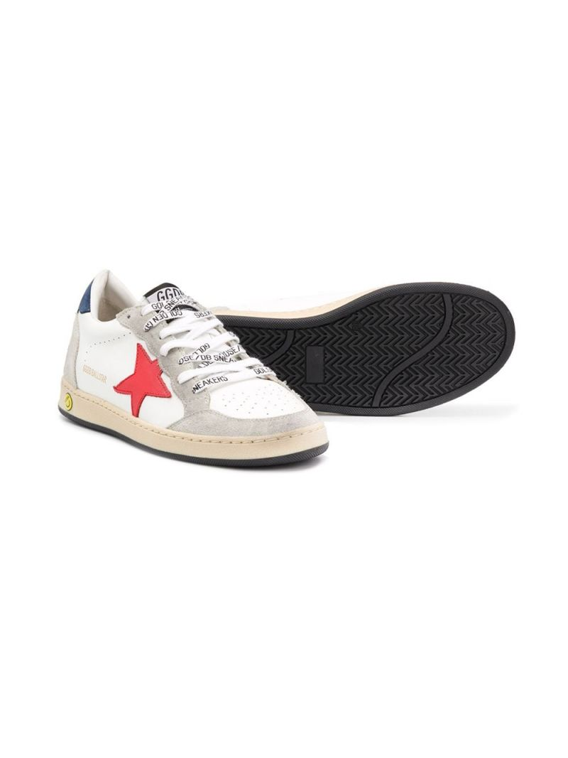 GOLDEN GOOSE DELUXE BRAND KIDS: Ball Star smooth leather and suede sneakers Color Multicolor_2