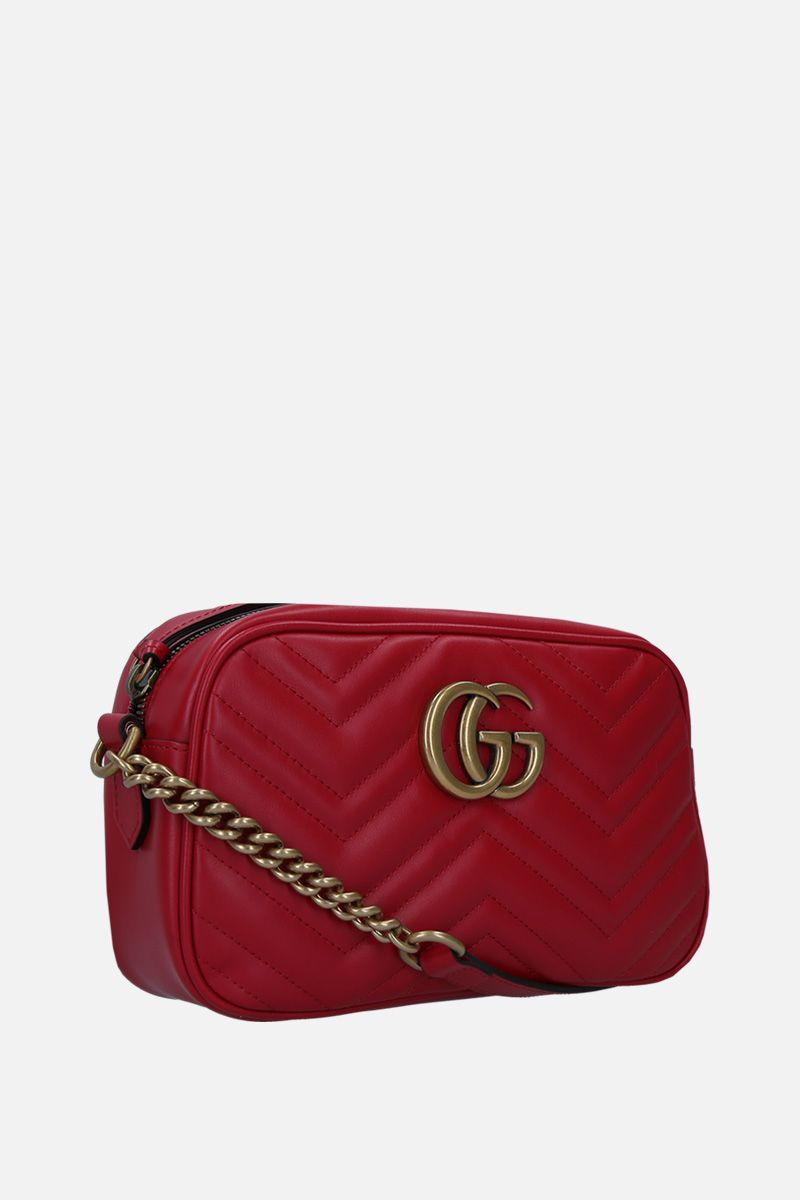 GUCCI: GG Marmont small crossbody bag in quilted leather Color Red_2