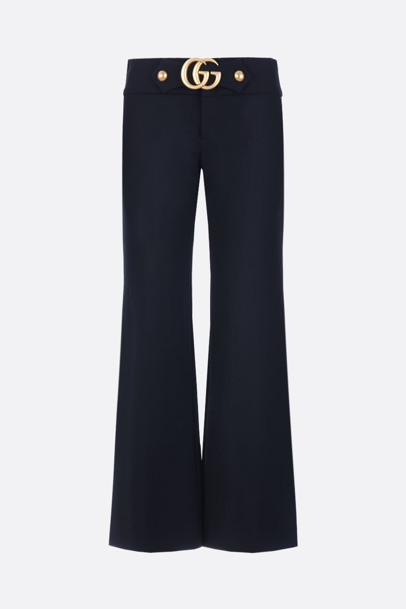 GUCCI: Double G detailed jersey flare pants Color Black_1