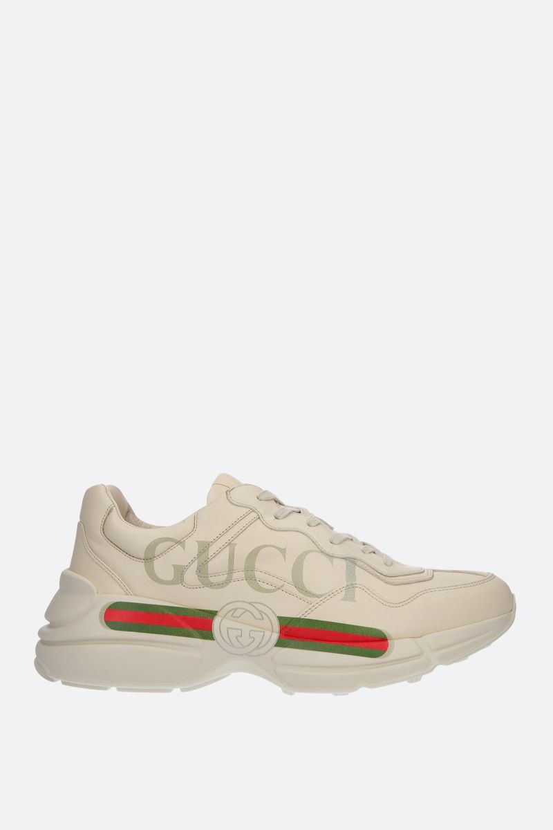 GUCCI: Rhyton leather sneakers Color White_1