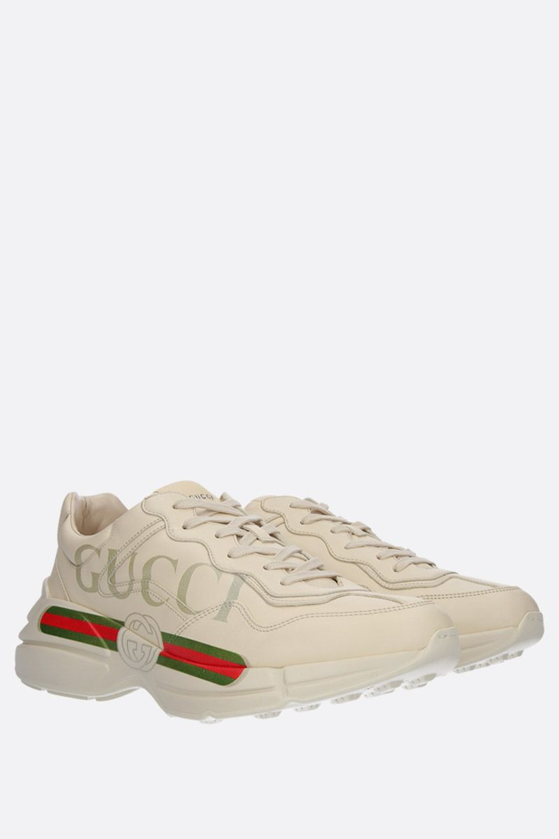 GUCCI: Rhyton leather sneakers Color White_2