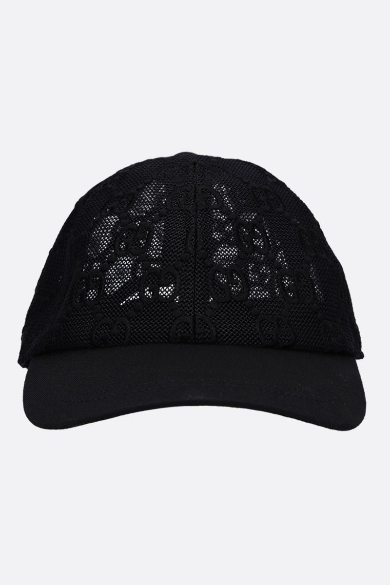 GUCCI: GG embroidered net baseball cap Color Black_1