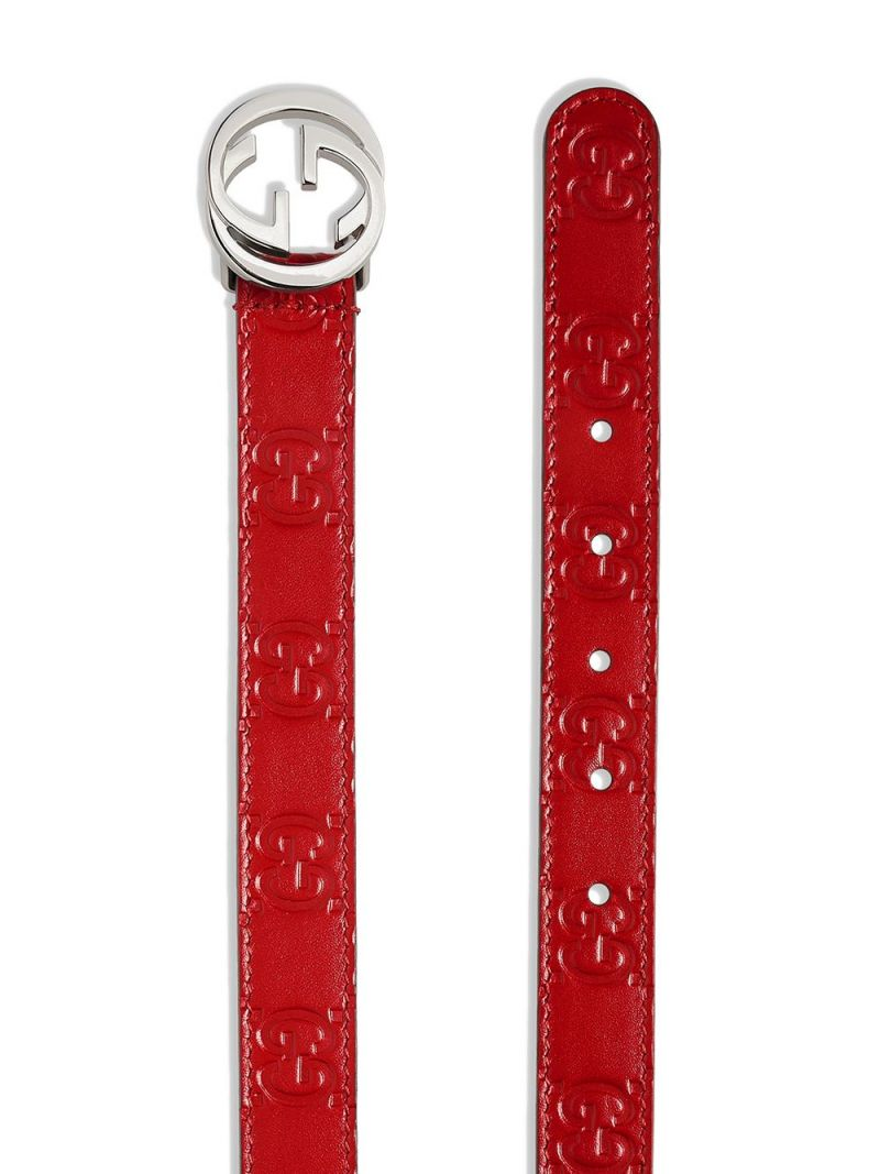 GUCCI CHILDREN: Gucci Signature smooth leather belt Color Red_2