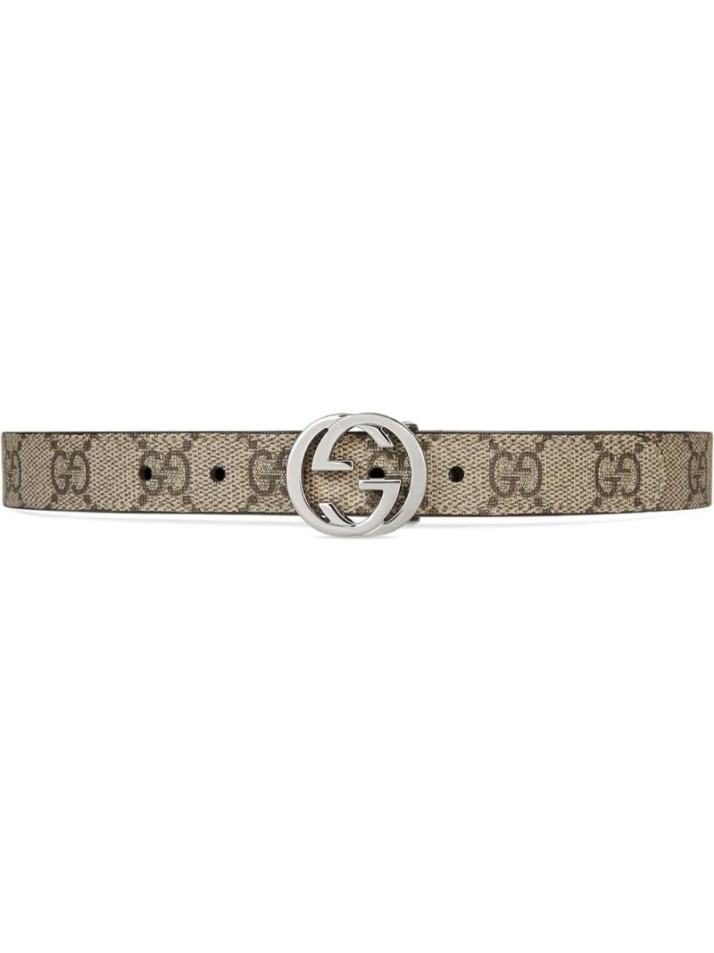 GUCCI CHILDREN: GG Supreme coated canvas belt Color Neutral_1