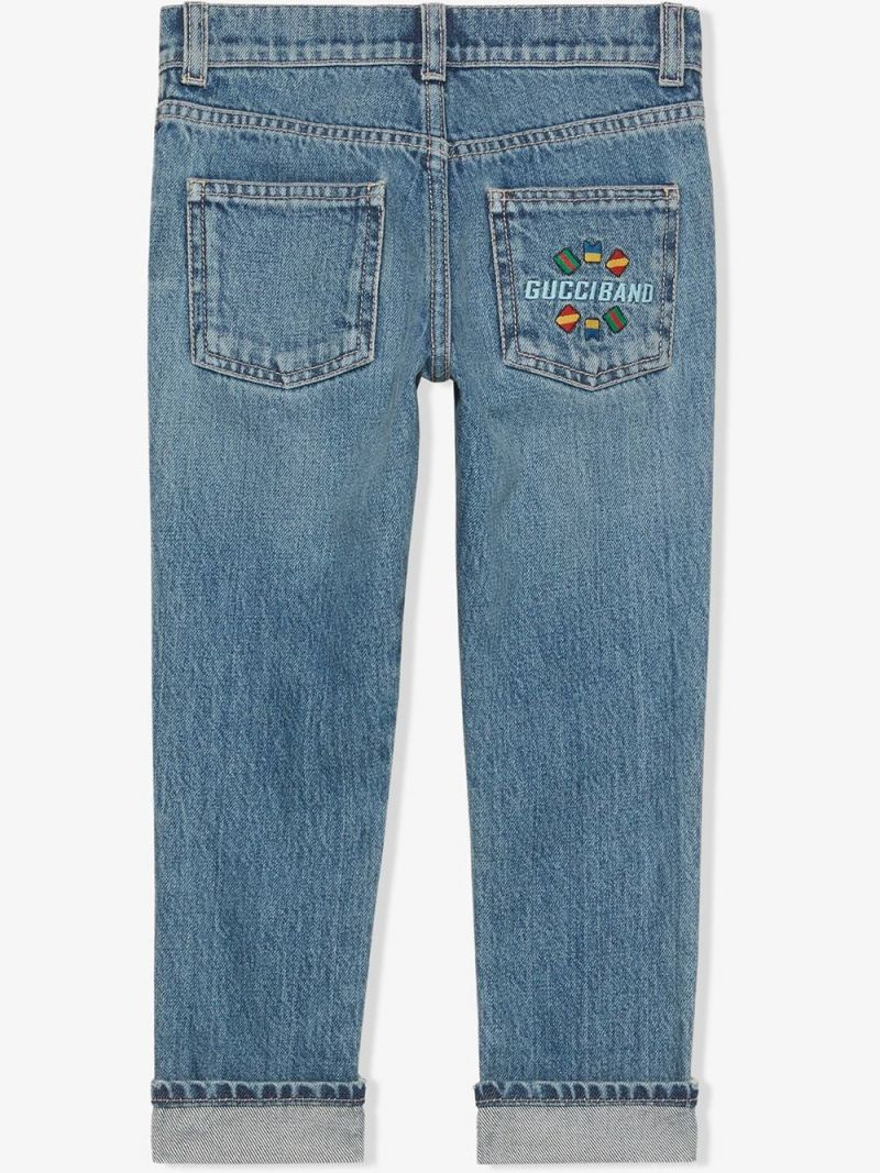 GUCCI CHILDREN: Gucci Band embroidered straight-fit jeans Color Multicolor_2