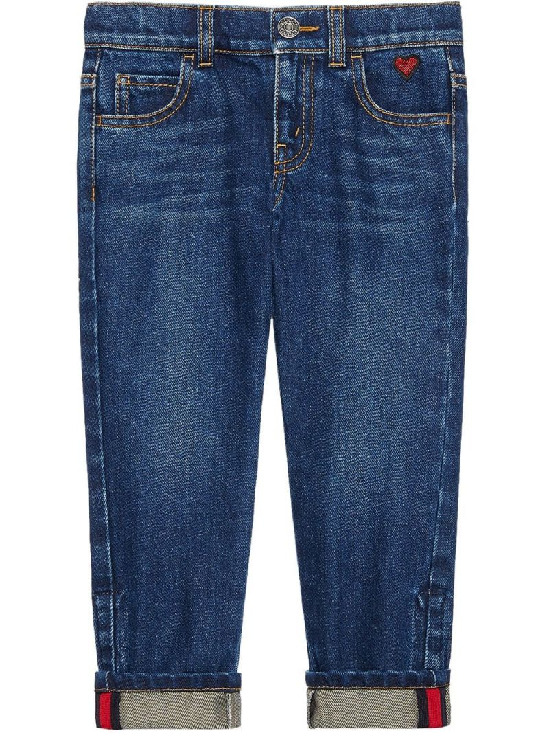 GUCCI CHILDREN: heart embroidered jeans_1