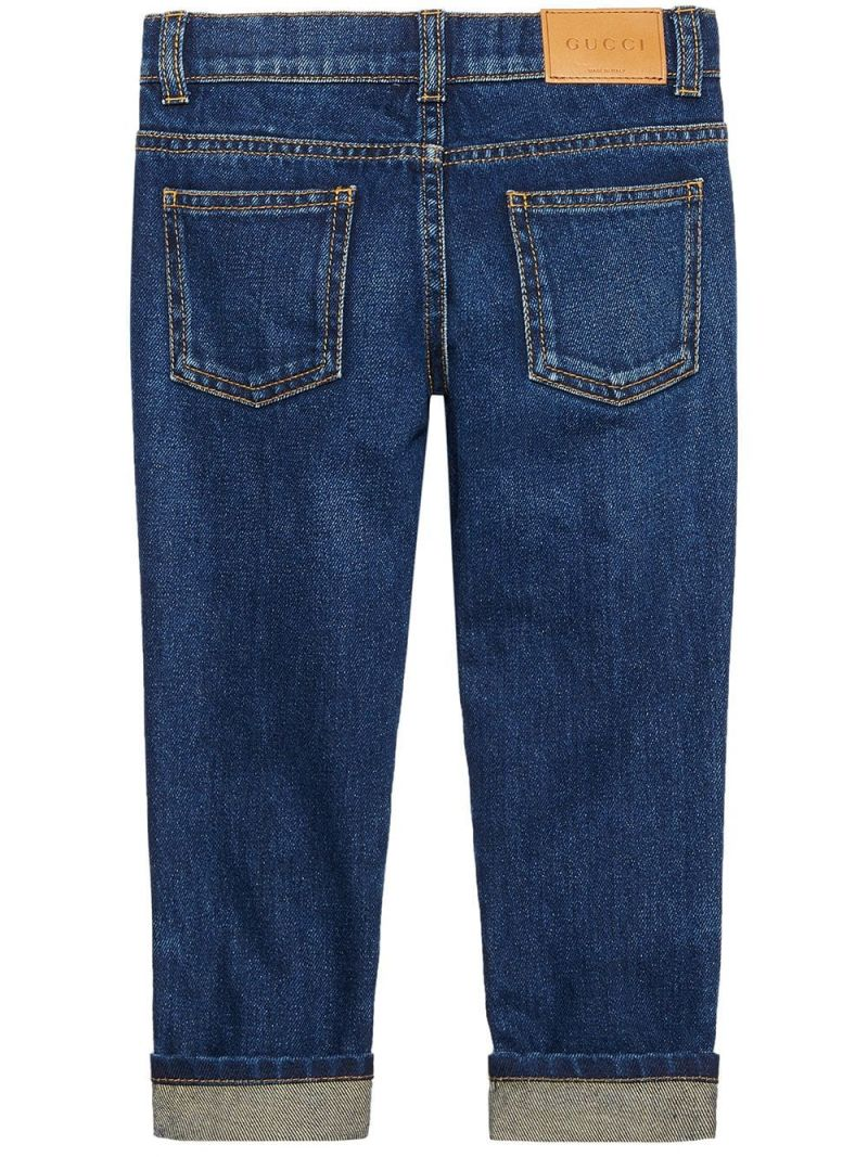 GUCCI CHILDREN: heart embroidered jeans_2