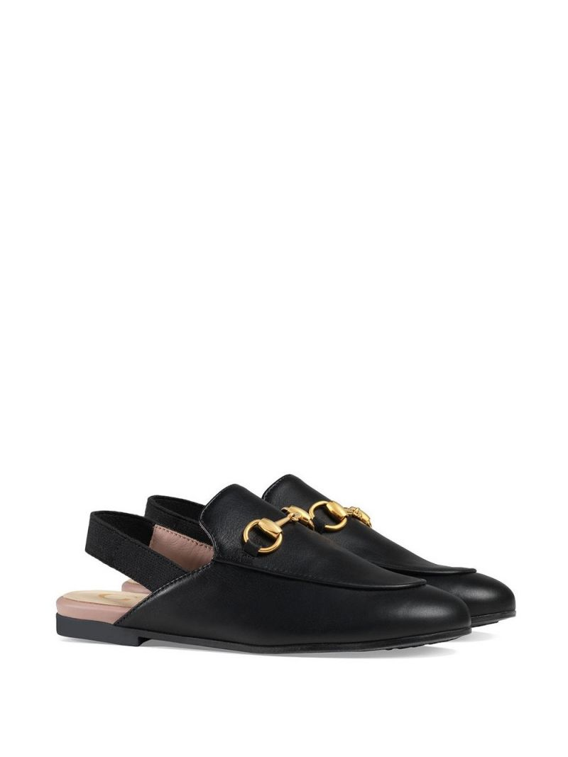 GUCCI CHILDREN: Princetown slippers in smooth leather Color Black_1