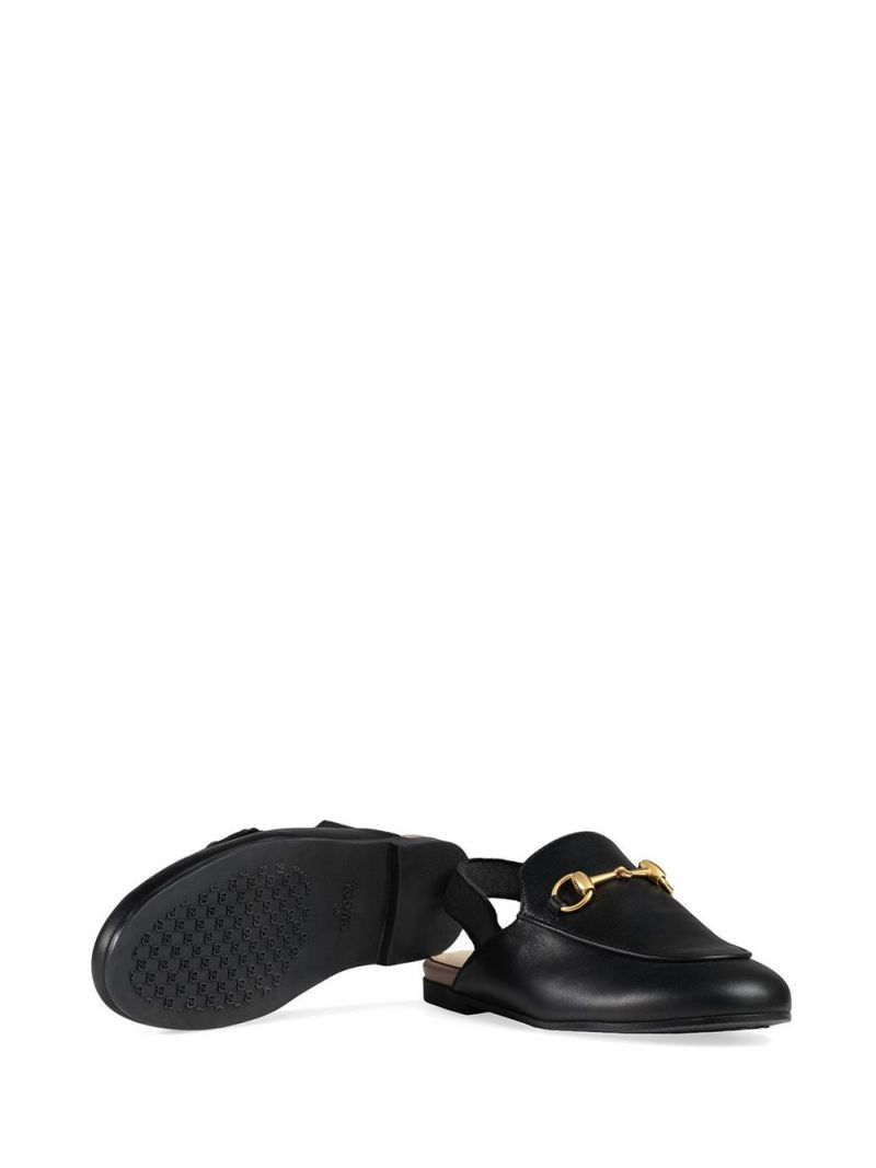 GUCCI CHILDREN: Princetown slippers in smooth leather Color Black_2