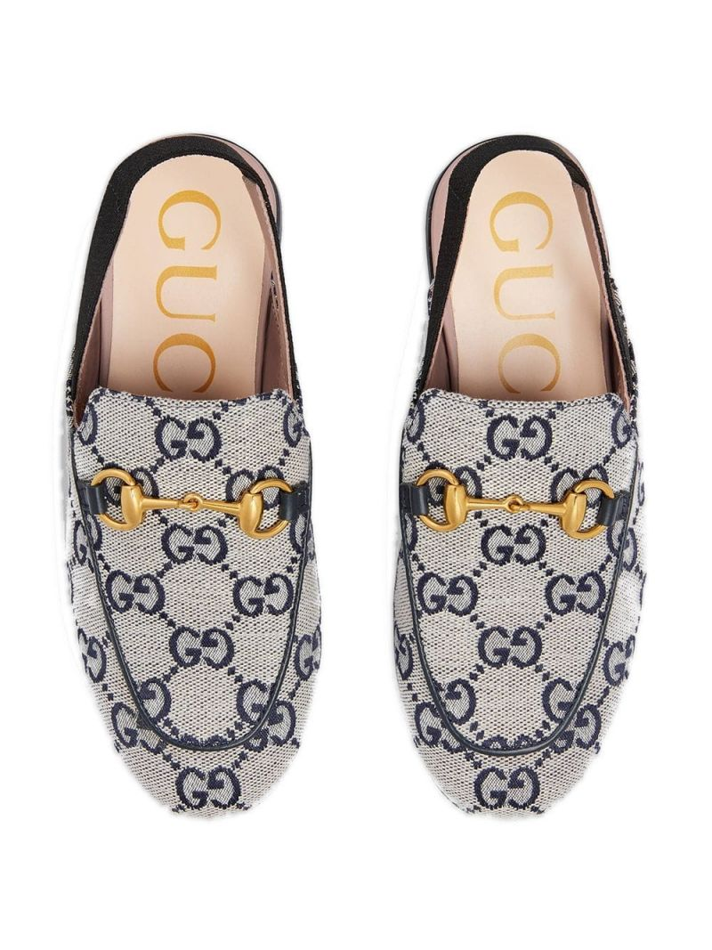 GUCCI CHILDREN: Princetown slippers in GG canvas_3