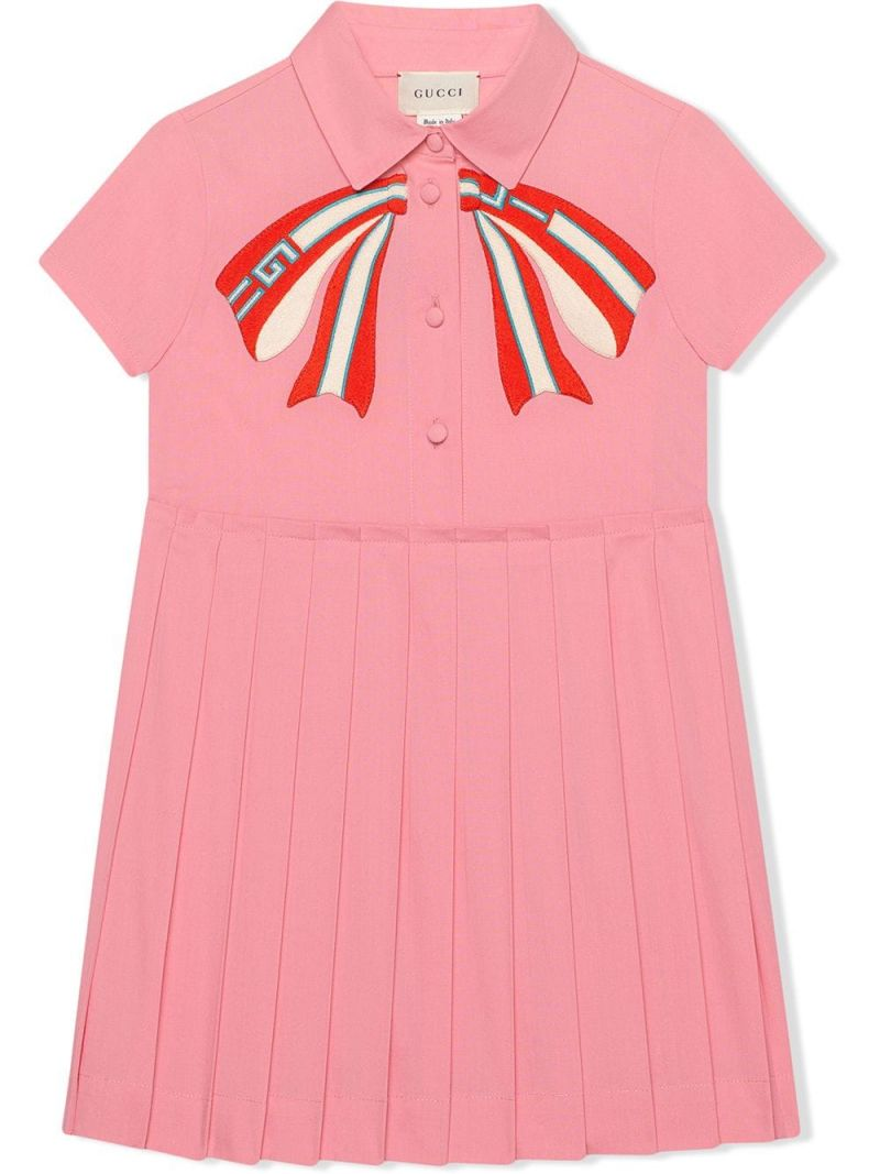 GUCCI CHILDREN: Web bow print cotton blend shirt dress_1