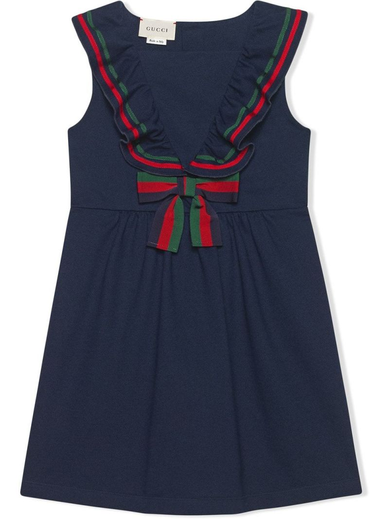 GUCCI CHILDREN: Web-detailed piquet sleeveless dress Color Blue_1
