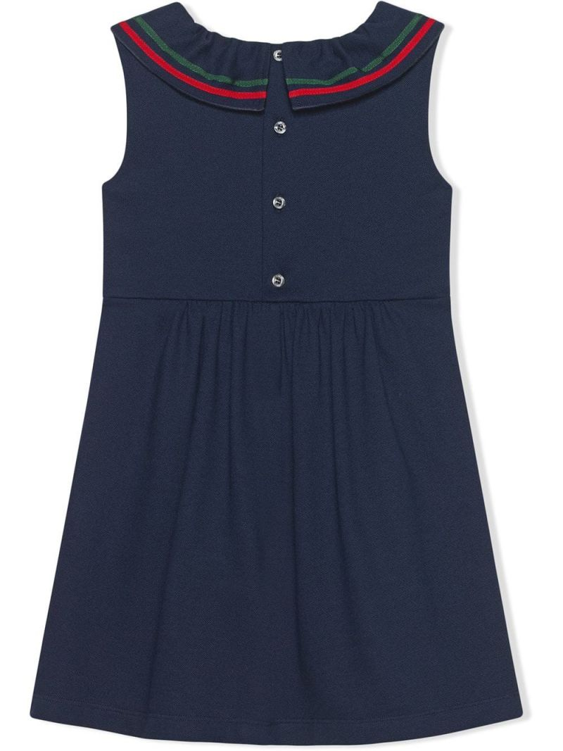 GUCCI CHILDREN: Web-detailed piquet sleeveless dress Color Blue_2