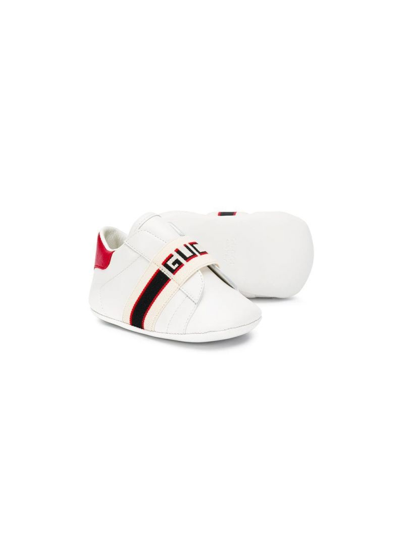 GUCCI CHILDREN: Gucci stripe-detailed smooth leather sneakers_2